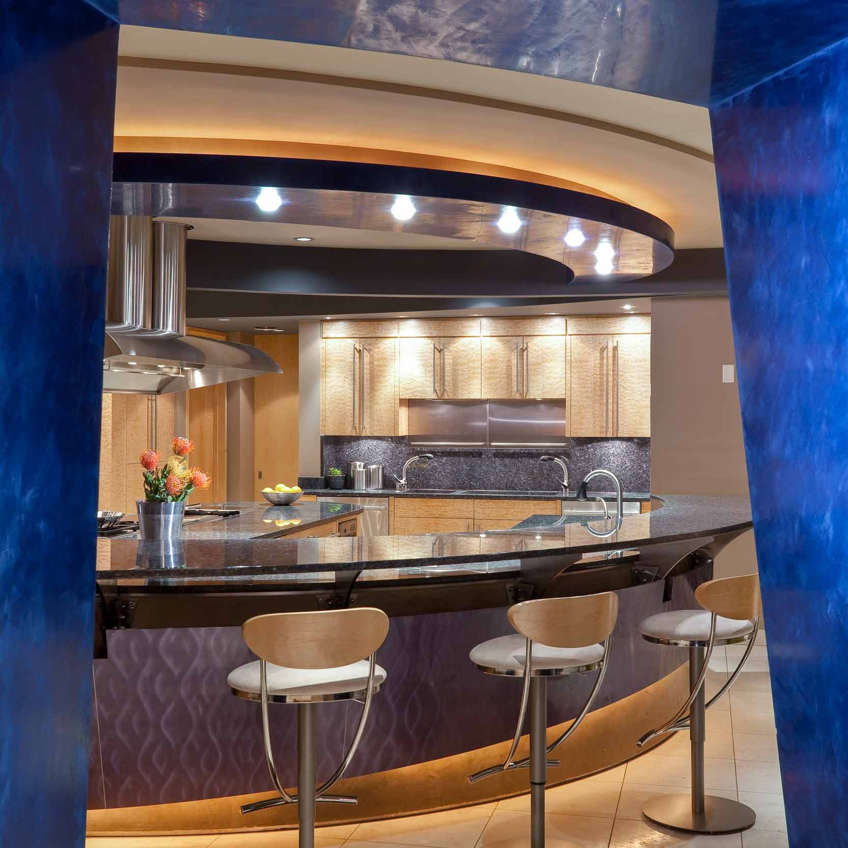 High Tech Modern Blue Kitchen In Minneapolis, Minnesota