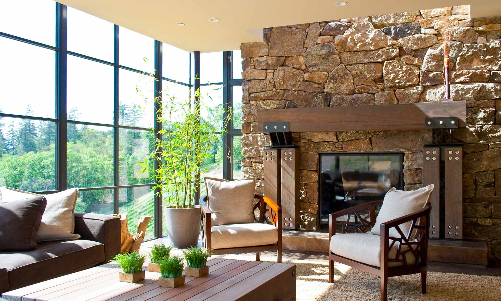 Arteriors Architects California Modern Stone House Living Room